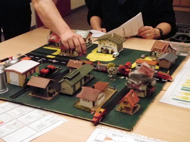 Blick in die Einsatzstelle - das Planspieldorf